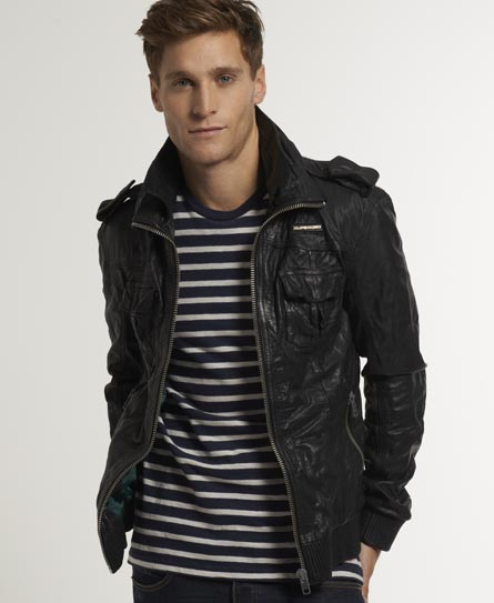 New Mens Superdry Ryan Leather Bomber Jacket Black | eBay