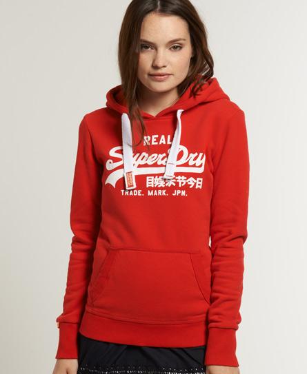 new womens superdry vintage logo hoodie red ebay. Black Bedroom Furniture Sets. Home Design Ideas