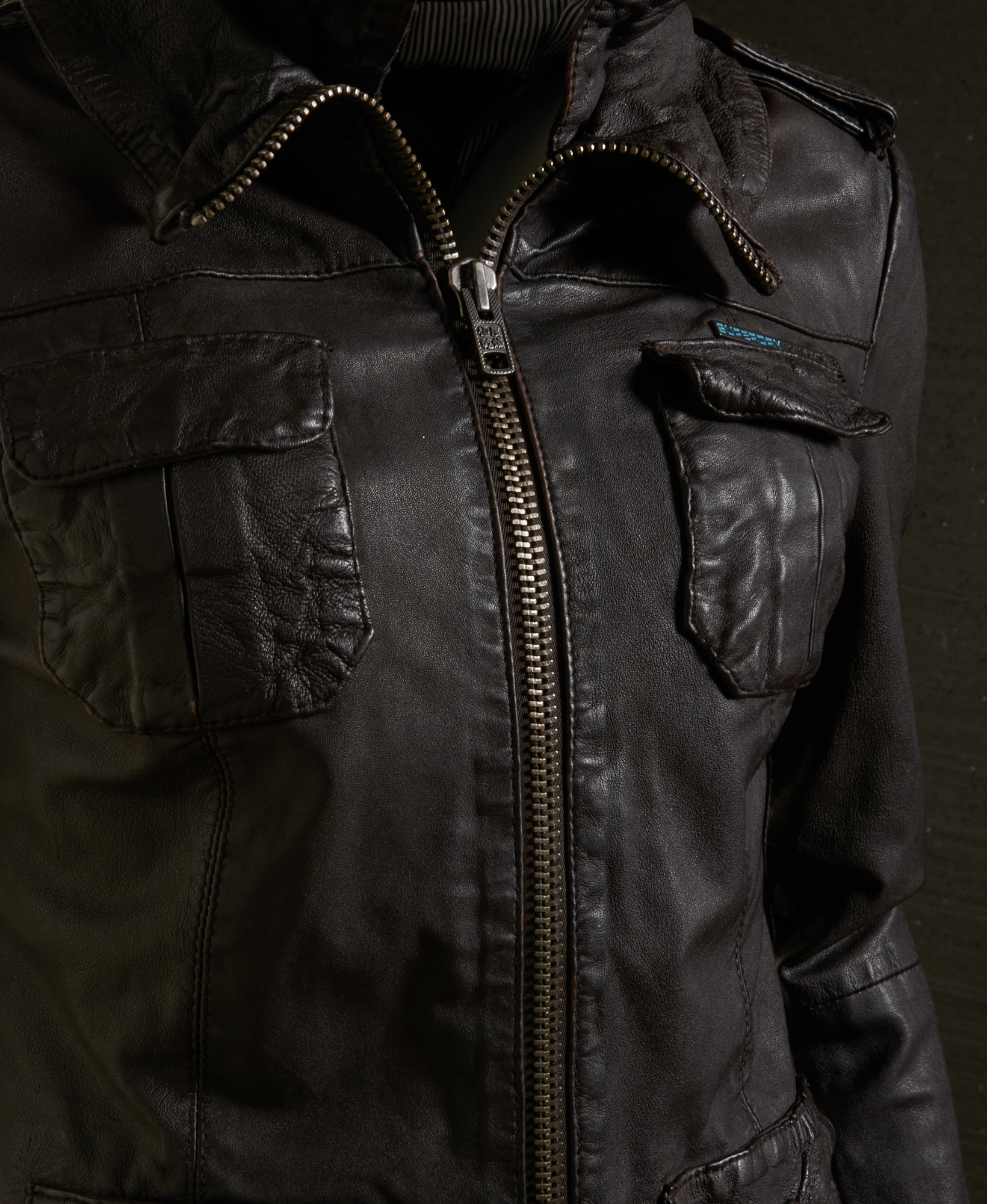 Leather jacket superdry - New Womens Superdry Ramona Leather Jacket Brown