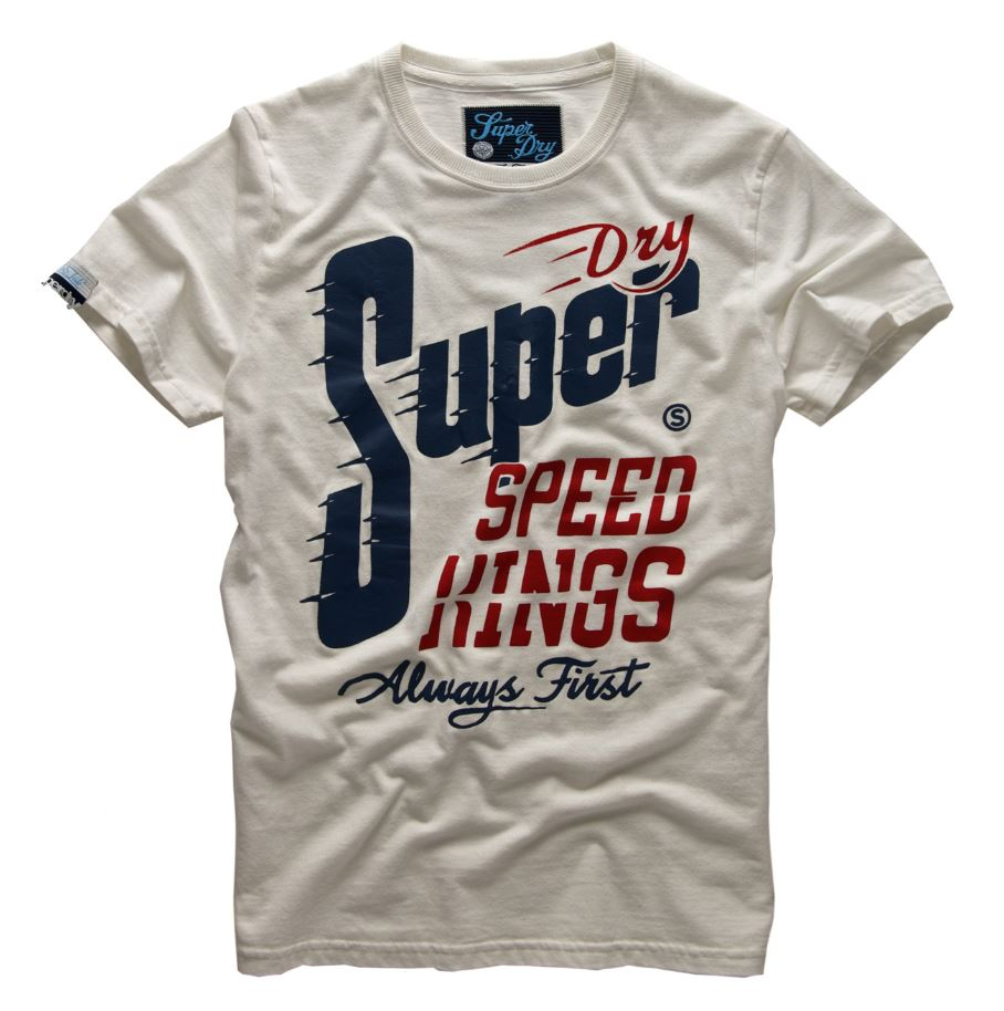 new mens superdry speed kings tin tab t shirt new chalk ebay. Black Bedroom Furniture Sets. Home Design Ideas