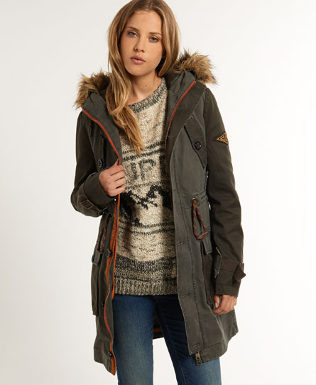 neue damen superdry super desert parka gr n ebay. Black Bedroom Furniture Sets. Home Design Ideas