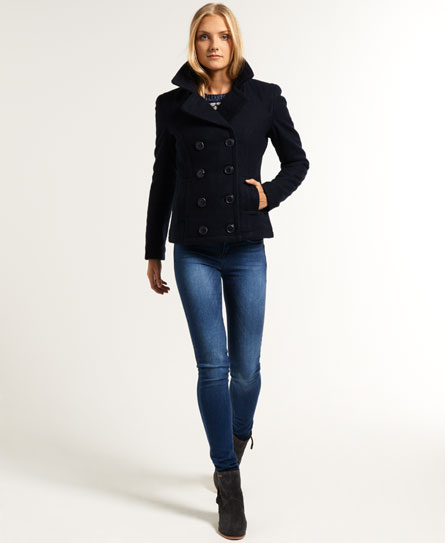 New Womens Superdry Commodity Pea Coat Navy | eBay