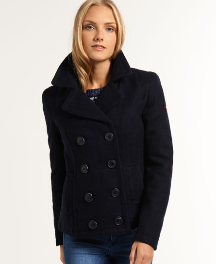 New Womens Superdry Commodity Pea Coat Navy | eBay