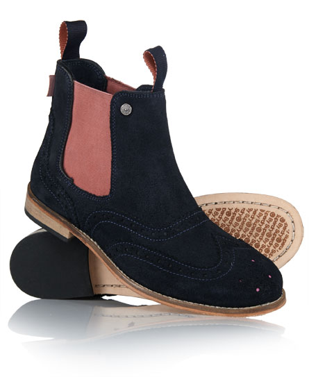 new womens superdry jack brogue chelsea boots navy suede. Black Bedroom Furniture Sets. Home Design Ideas