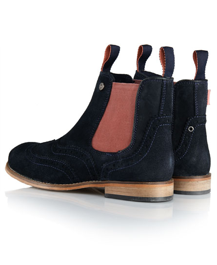 New Womens Superdry Jack Brogue Chelsea Boots Navy Suede | eBay