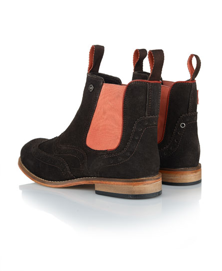 New Womens Superdry Jack Brogue Chelsea Boots Chocolate Suede | eBay