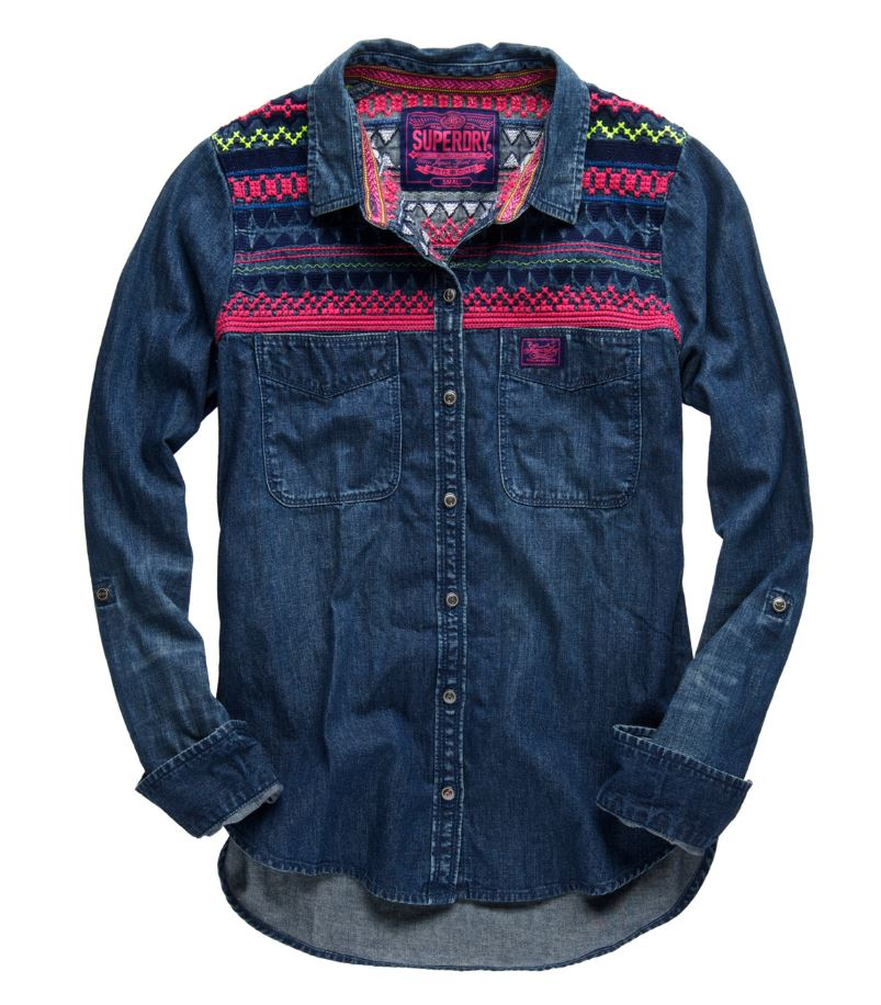 New womens superdry flag denim shirt indigo wash pink ebay for Indigo denim shirt womens