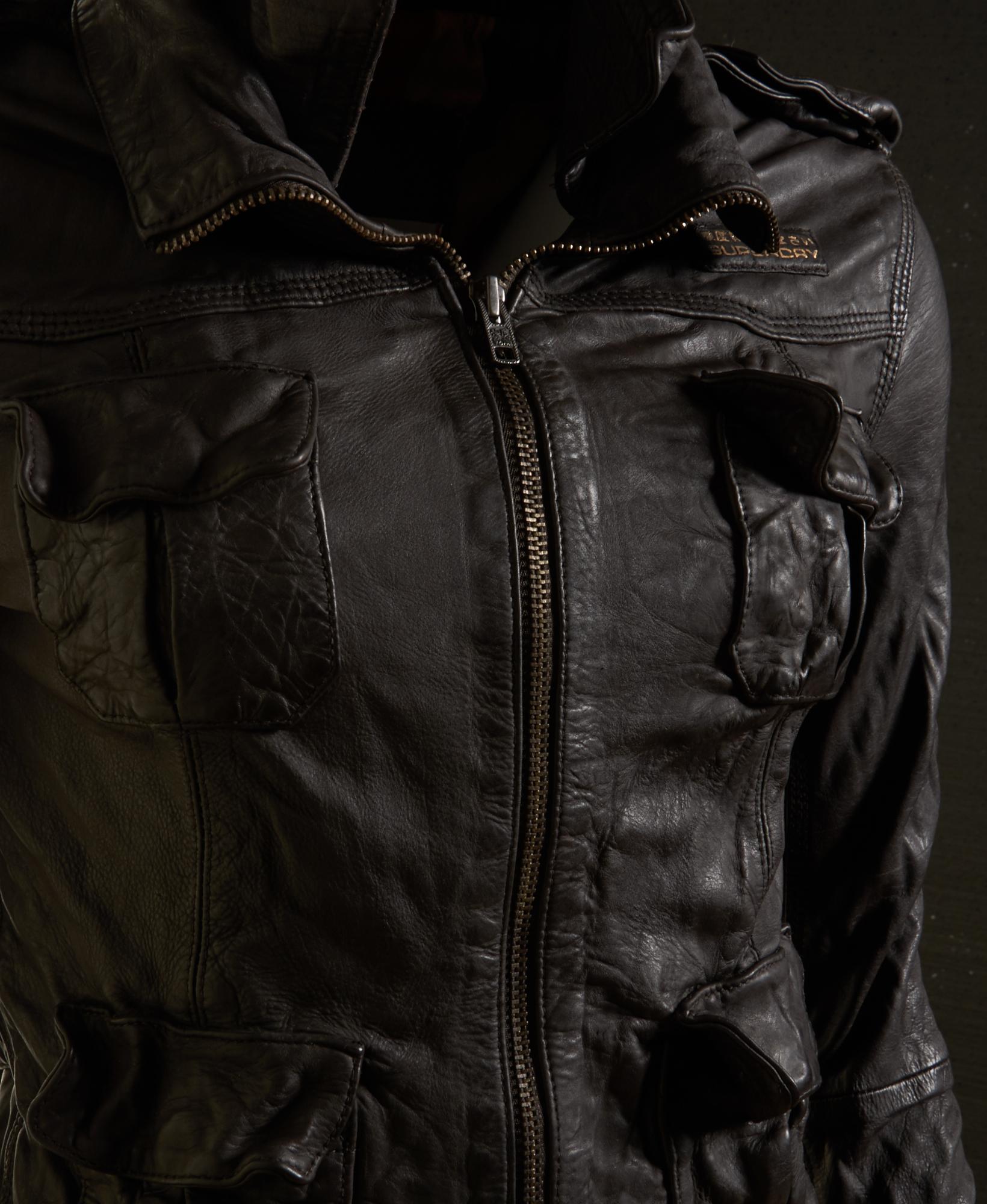 Leather jacket superdry - New Womens Superdry Megan Flag Leather Jacket Chestnut