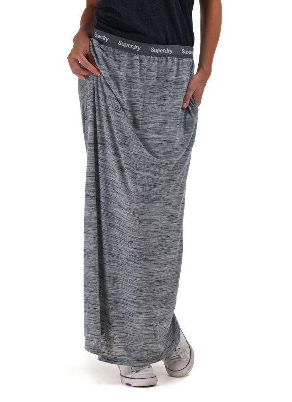 New Womens Superdry Super Maxi Skirt Long Slub Grey