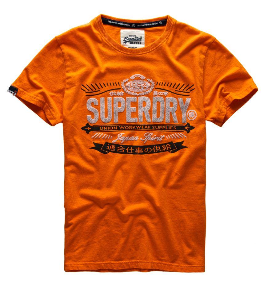 New Mens Superdry Workwear Label Line T Shirt Neon Orange