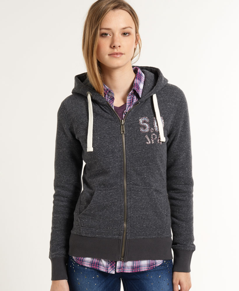 The Nike™ Women's Gym Vintage Full Zip Hoodie is made of polyester and cotton and features an oversized hood.