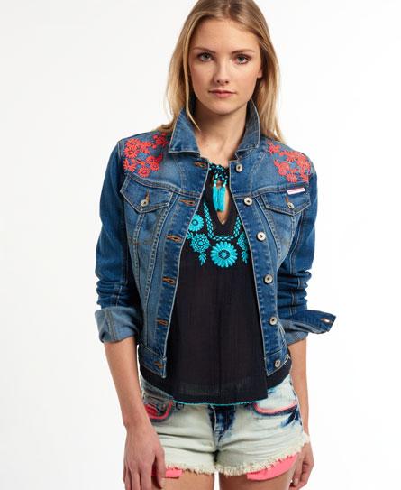 New Womens Superdry Embroidered Slim Fit Denim Jacket Surf Blue