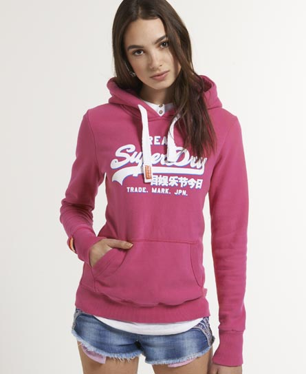 neuer damen superdry drop shadow hoodie punk pink ebay. Black Bedroom Furniture Sets. Home Design Ideas
