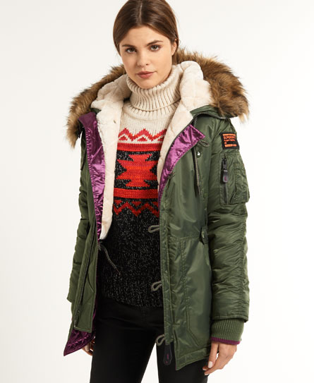 neue damen superdry sd 3 parka sage green ebay. Black Bedroom Furniture Sets. Home Design Ideas