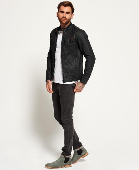 New Mens Superdry Denim Biker Jacket Dark Grey Resinated | eBay