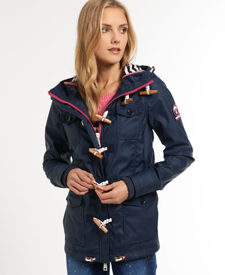 New Womens Superdry Boat Duffle Jacket Fathom Navy | eBay