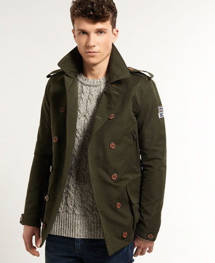 New Mens Superdry Montgomary Pea coat Army | eBay