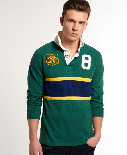 Vintage Valiant Rugby Shirt In Ultramarine Gold: New Mens Superdry Super Scrum Rugby Shirt No. 8 Green
