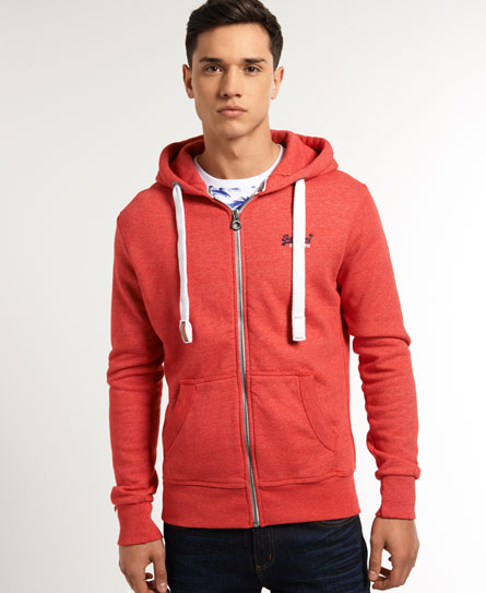neuer herren superdry orange label zip hoodie dakota red. Black Bedroom Furniture Sets. Home Design Ideas