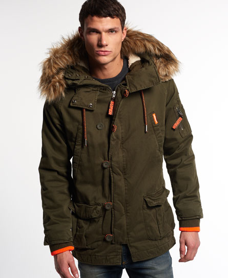 New Mens Superdry Rookie Heavy Weather Parka Jacket Dark Khaki | eBay