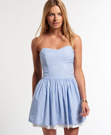 New Womens Superdry 50&amp039s Seersucker Dress Blue Seersucker  eBay