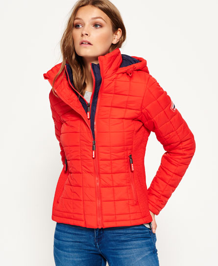 new womens superdry hooded box quilt fuji jacket bright red ebay. Black Bedroom Furniture Sets. Home Design Ideas