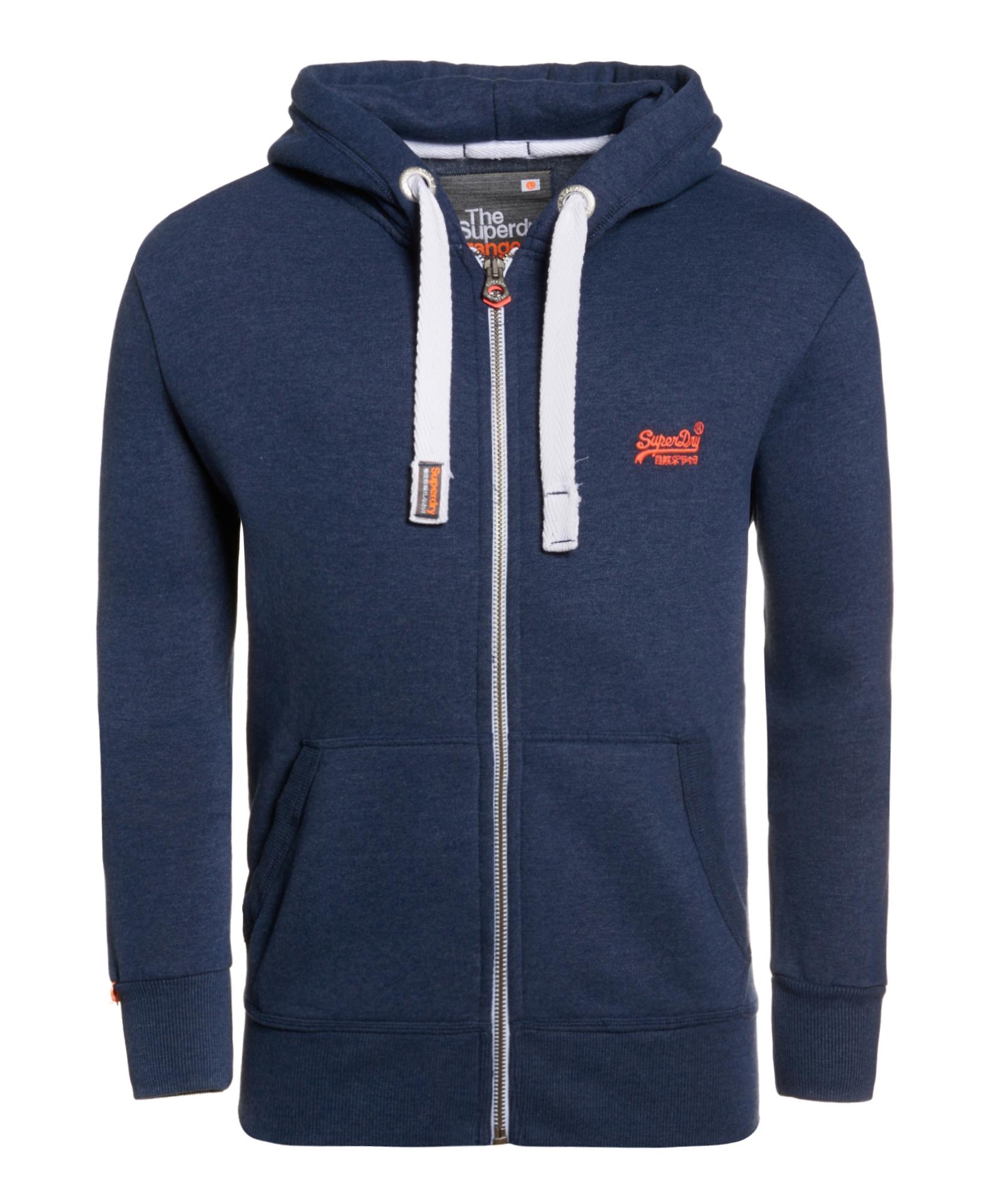 neuer herren superdry orange label zip hoodie princeton blue marl ebay. Black Bedroom Furniture Sets. Home Design Ideas