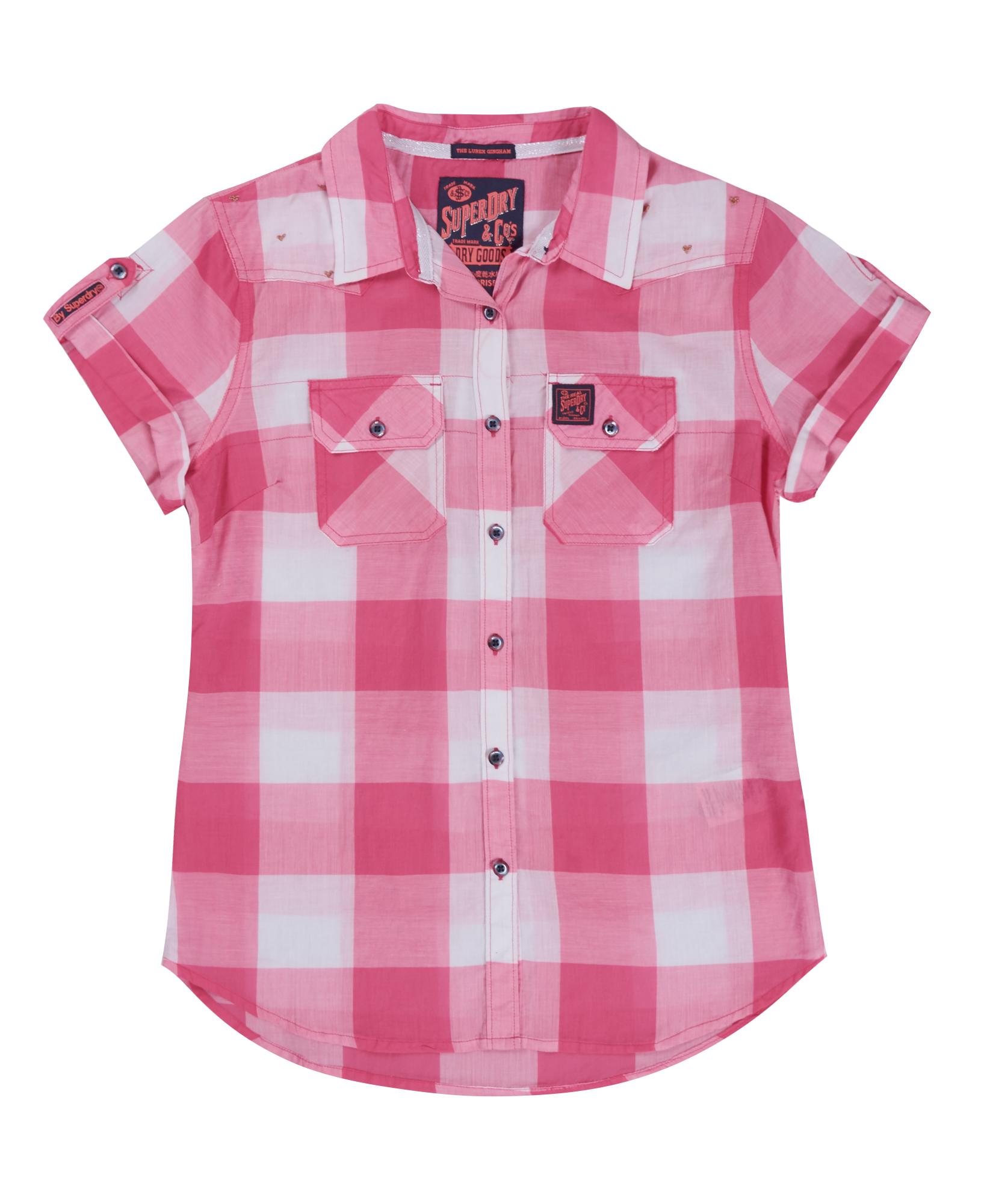 New womens superdry lurex gingham calamity shirt pink ebay for Pink gingham shirt ladies