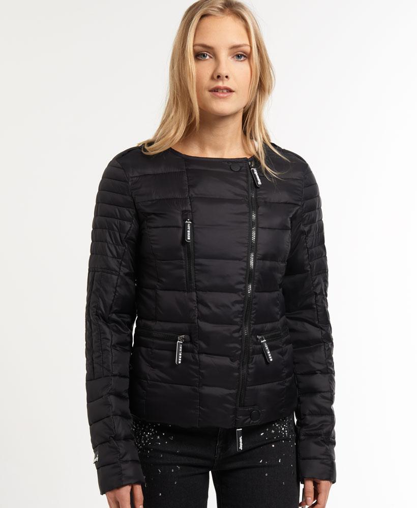new womens superdry fuji biker jacket black. Black Bedroom Furniture Sets. Home Design Ideas