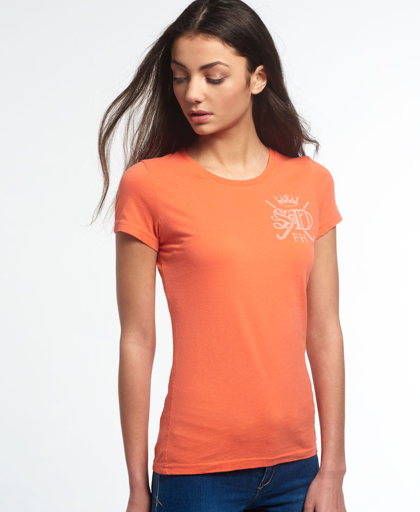 New womens superdry m a hockey stick t shirt hot coral ebay for Coral t shirt womens