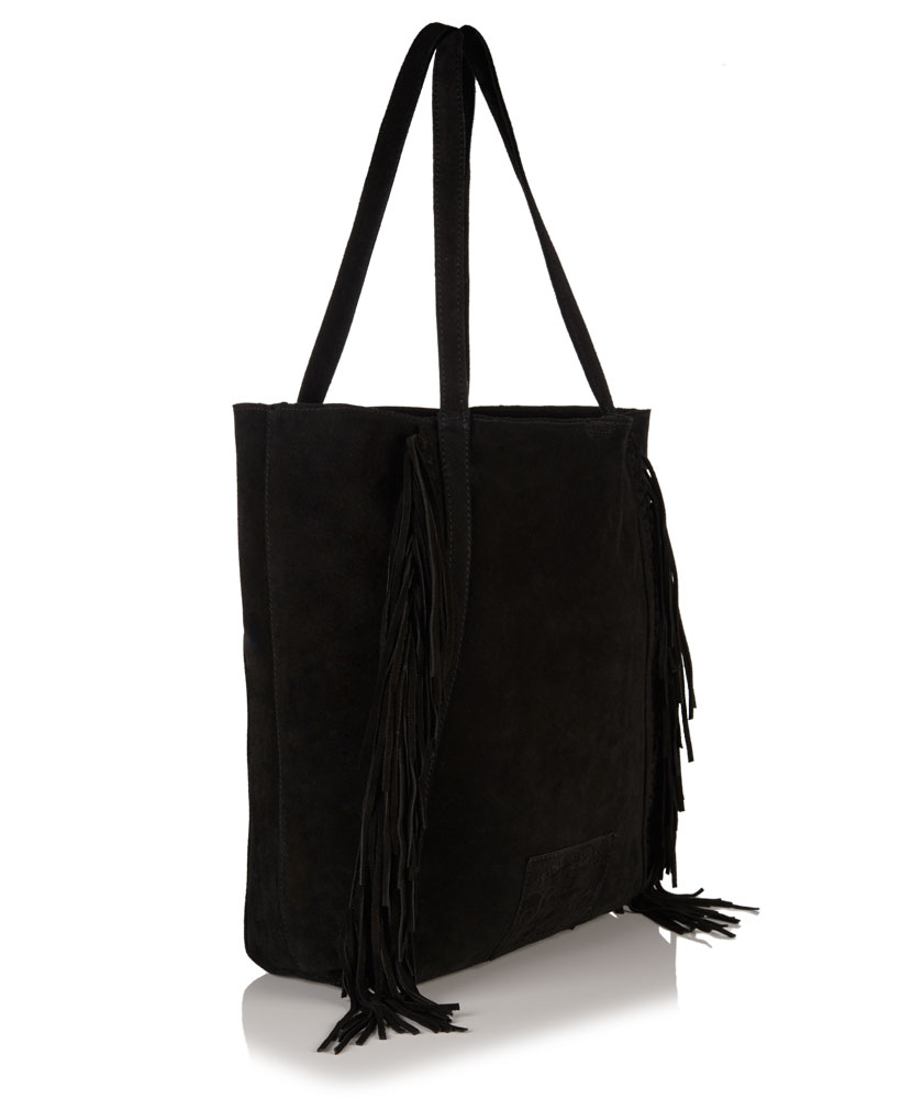 New Womens Superdry Premium Suede Neo Nomad Fringed Tote Bag Black ...