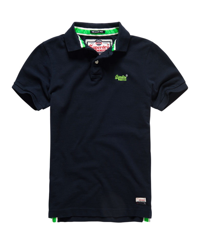 New mens superdry classic pique polo shirt ink navy ebay for Mens navy polo shirt