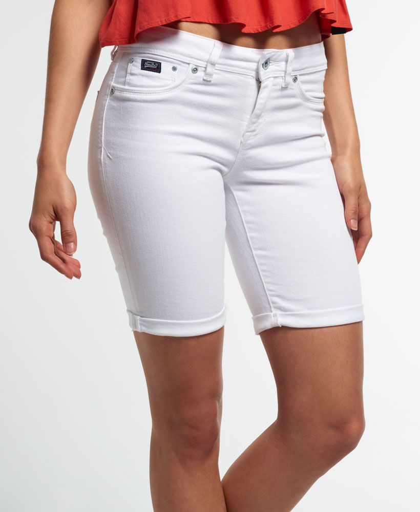 New Womens Superdry Bermuda Shorts Optic