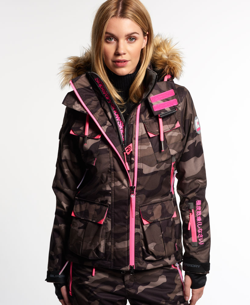 new womens superdry ultimate snow service ski jacket camo. Black Bedroom Furniture Sets. Home Design Ideas