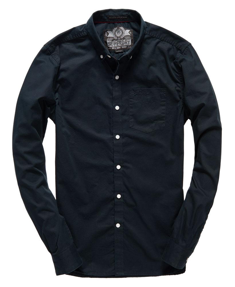New mens superdry premium button down shirt black ebay for Mens black button down shirt