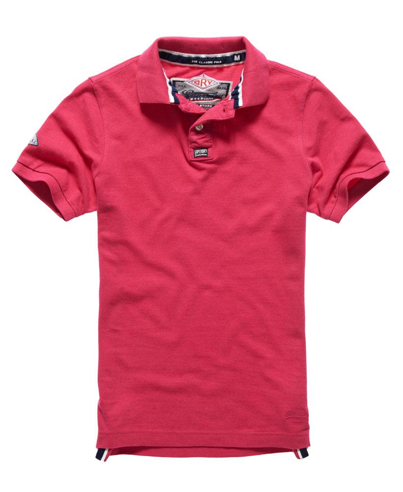 New Mens Classic Pique Polo Shirt Hot Pink Marl