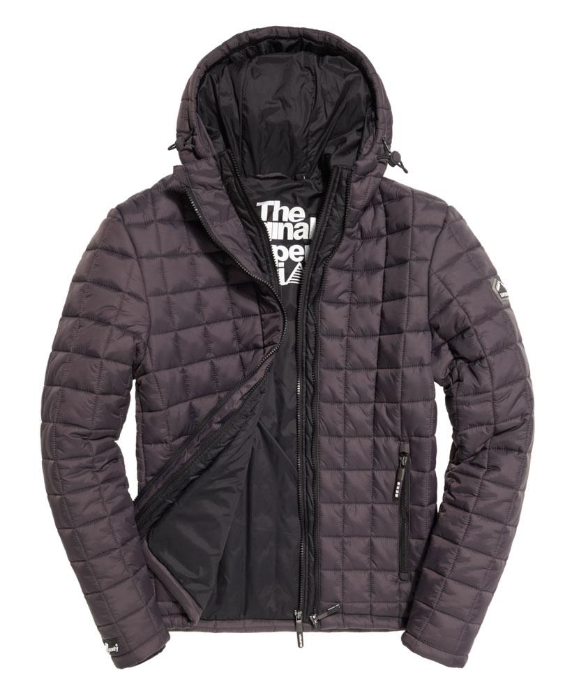 New Mens Superdry Box Quilt Fuji Jacket Charcoal