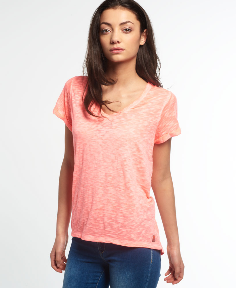 New womens superdry super sewn burnout vee t shirt fluro coral for Coral t shirt womens