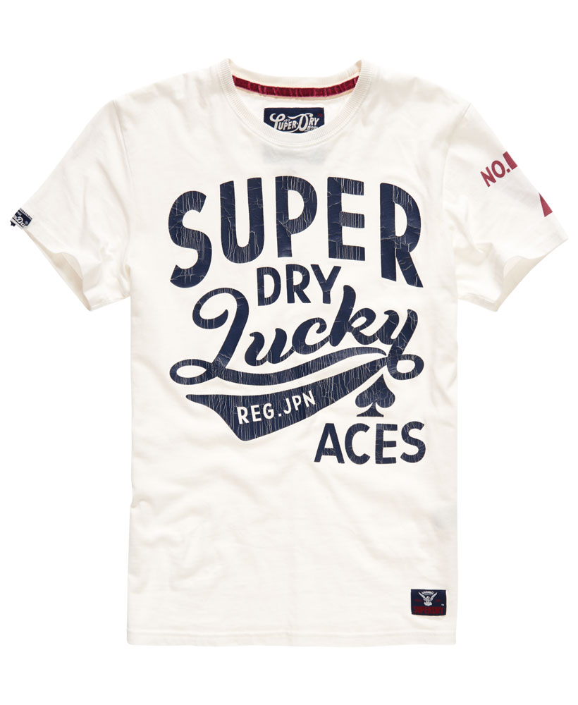 neues herren superdry lucky aces t shirt new chalk ebay. Black Bedroom Furniture Sets. Home Design Ideas