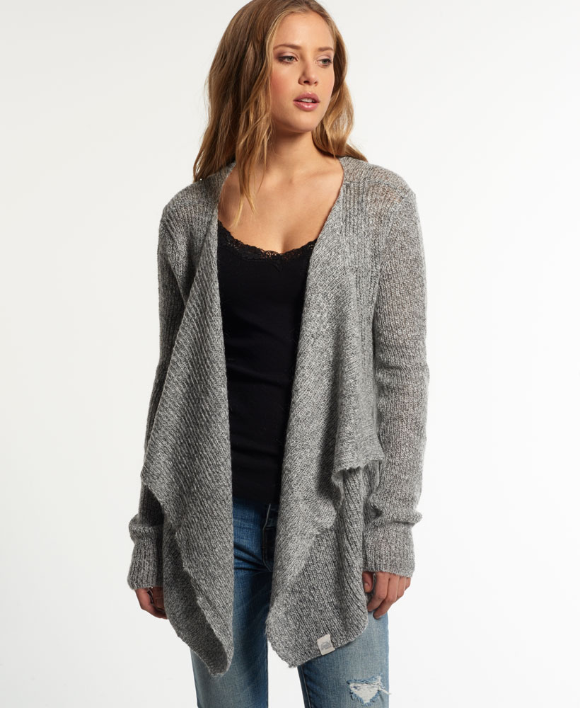 New Womens Superdry Alpine Waterfall Cardigan Grey Marl | eBay