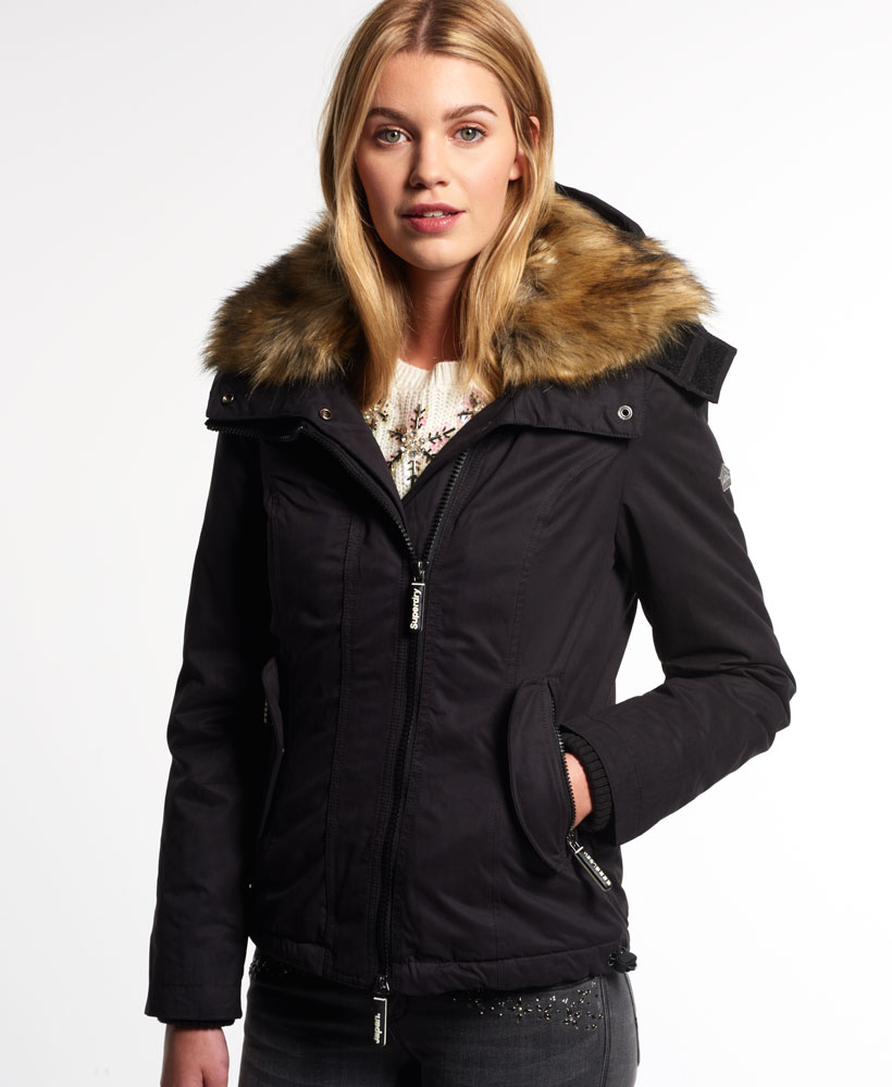 neue damen superdry winterjacke microfibre fur boxy. Black Bedroom Furniture Sets. Home Design Ideas
