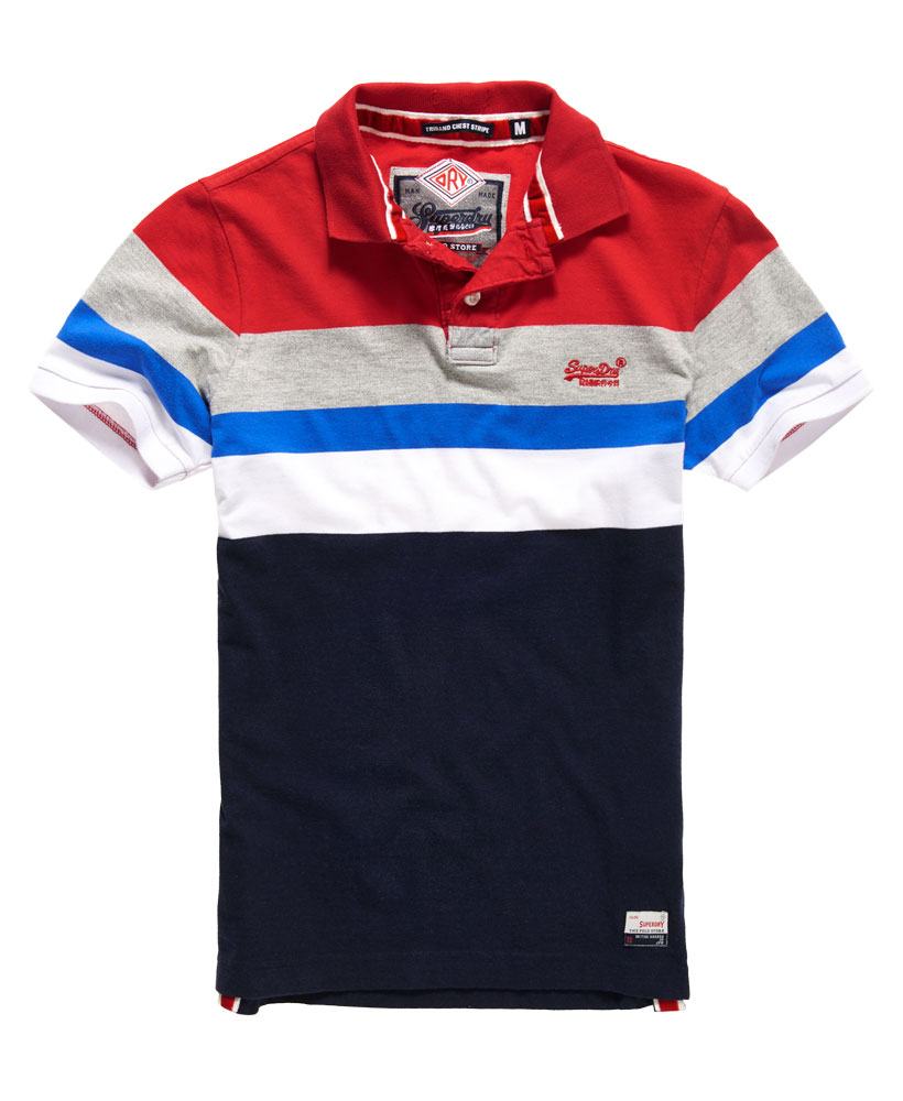neues herren superdry triband chest stripe polo shirt rich rot ebay. Black Bedroom Furniture Sets. Home Design Ideas