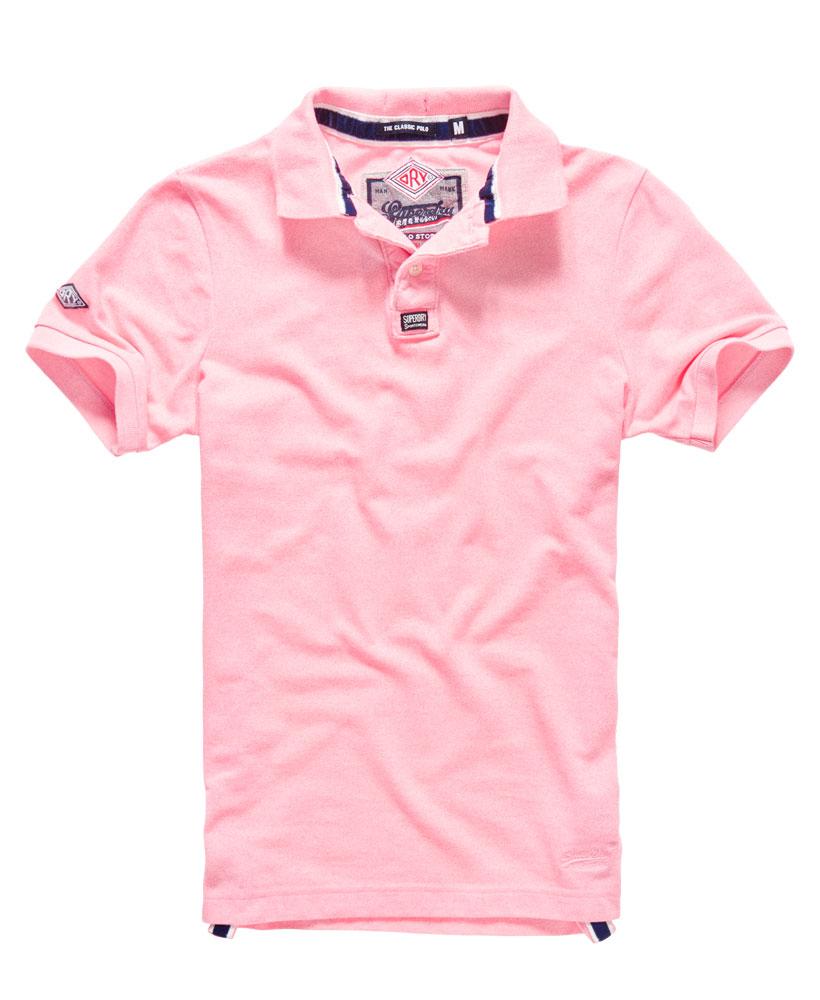 New Mens Superdry Classic Pique Polo Shirt Fluro Pink