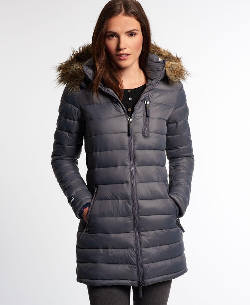 New Womens Superdry Happy Fuji Demi Jacket Slick Grey Ebay