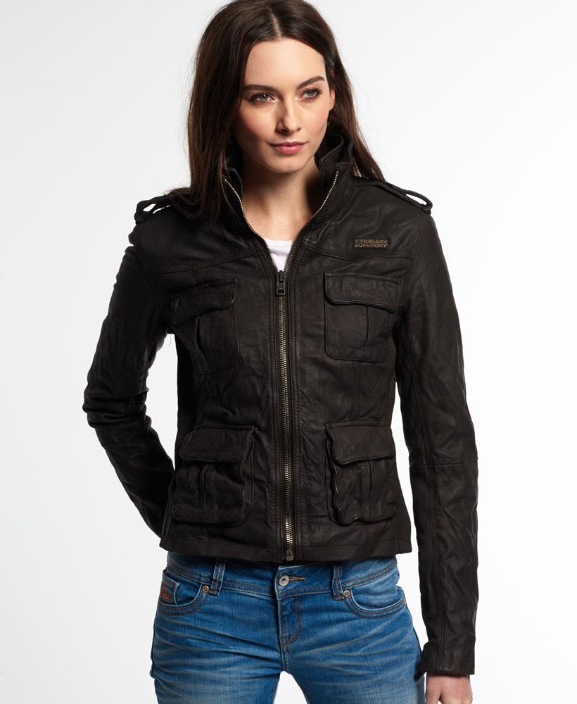 Leather jacket superdry - New Womens Superdry Megan Track Slim Leather Jacket Brown