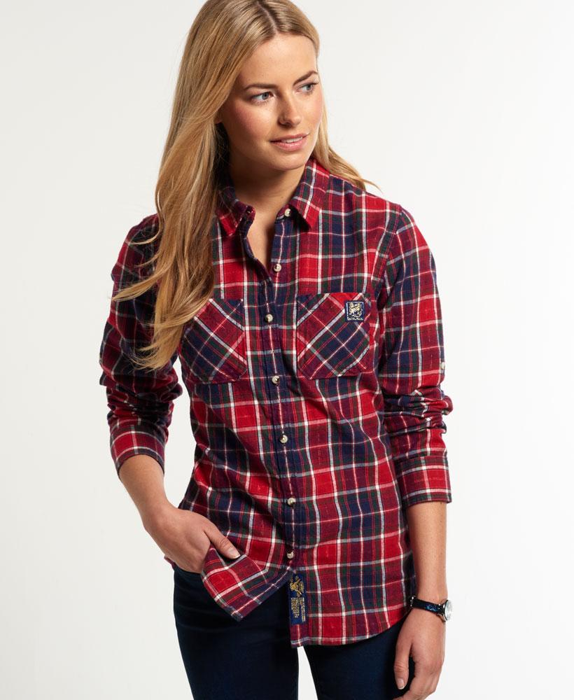neues damen superdry winter lumberjack hemd burns check ebay. Black Bedroom Furniture Sets. Home Design Ideas