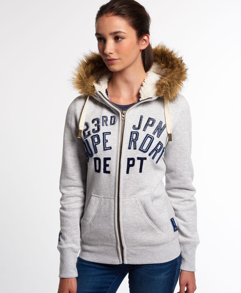 new womens superdry nordic arctic zip hoodie ice marl ebay. Black Bedroom Furniture Sets. Home Design Ideas