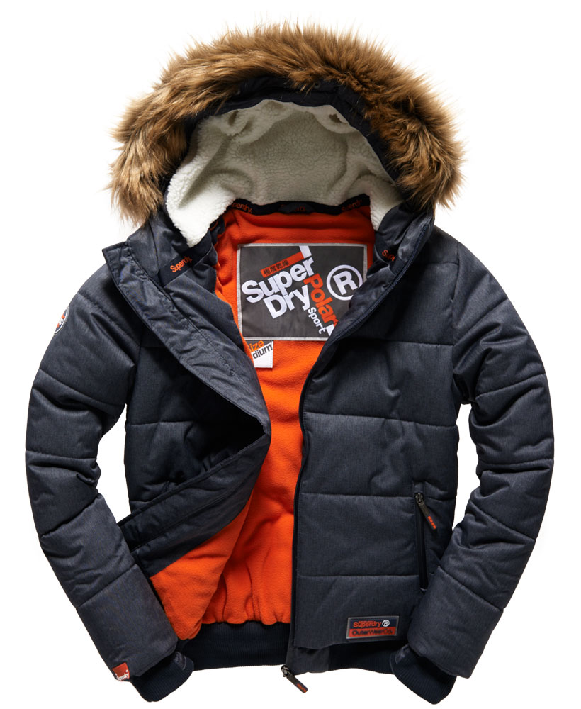 Superdry: New Mens Superdry Winter Sports Puffer Jacket Navy Marl