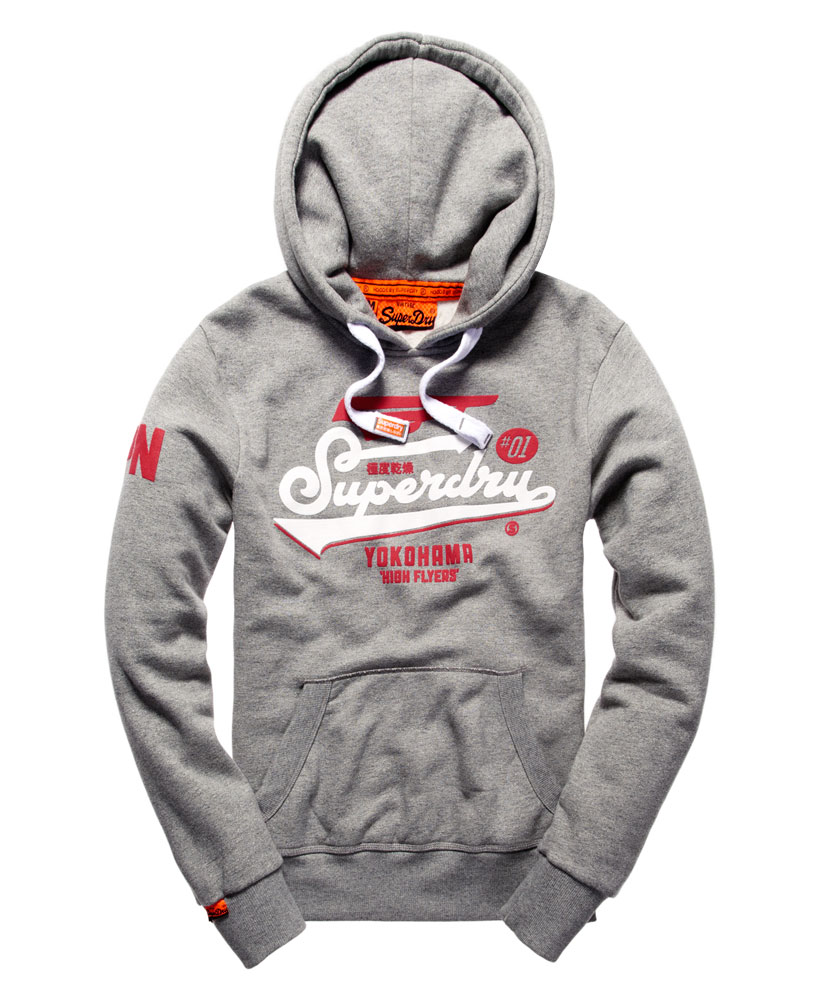 Details about New Mens Superdry High Flyers Hoodie Grit Grey Jaspe