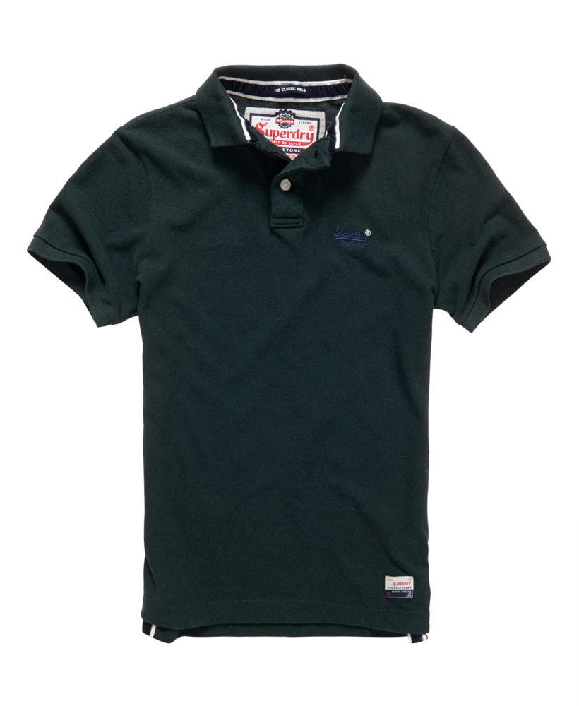 New mens superdry classic pique polo shirt dark enamel for Dark green mens polo shirt